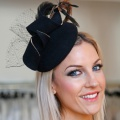 Black felt cocktail hat