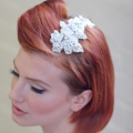 silver beaded crystal hair comb