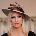 grey & purple pheasant feather hat