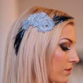 blue lace hair accessory