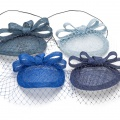 blue customisable headpieces with short veiling
