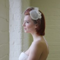 ivory bow headpiece with full veiling