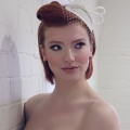 ivory headpiece with short veiling