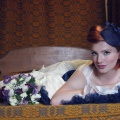 navy headpiece with short veiling