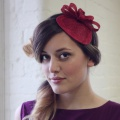 red vintage style fascinator