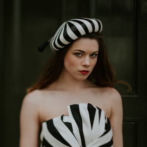 black and white stripy hat