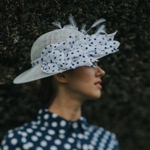 blue spotty shallow brimmed hat