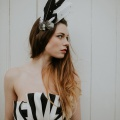 black & white feather head piece
