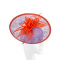 orange and lilac occasion hat