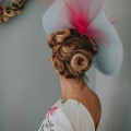 Madam butterfly blue and pink statement hat