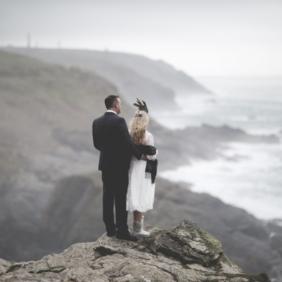 Elopement wedding at Boho Cornwall