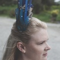 Blue feather headpiece