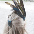 Brides hair wth feather headpiece and hair pin