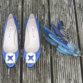 Manolo Blahnik shoes and Holly Young feather headpiece