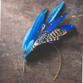 blue sex in the city style feather headdress for a bride