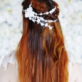 delicate blossom lace hair vine bridal headpiece