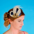 navy and gold pheasant fascinator