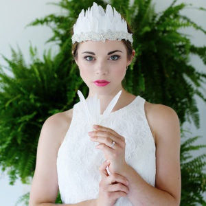 Feather and Crystal Bridal Headdress