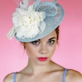 blue ivory occasion hat