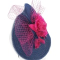 Floral Wedding Hat in Pink and Navy