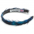 Blue Peacock Feather Hair Band