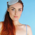 light blue vintage fascinator