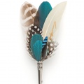 blue gents feather button hole pin