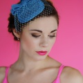 Turquoise Fascinator with veiling