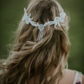 silver beaded hair chain back view with tassel