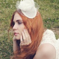 bird cage veil fascinator with ivory flower uk