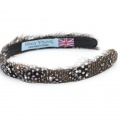 guinea fowl feather hair band with Swarovski crystals