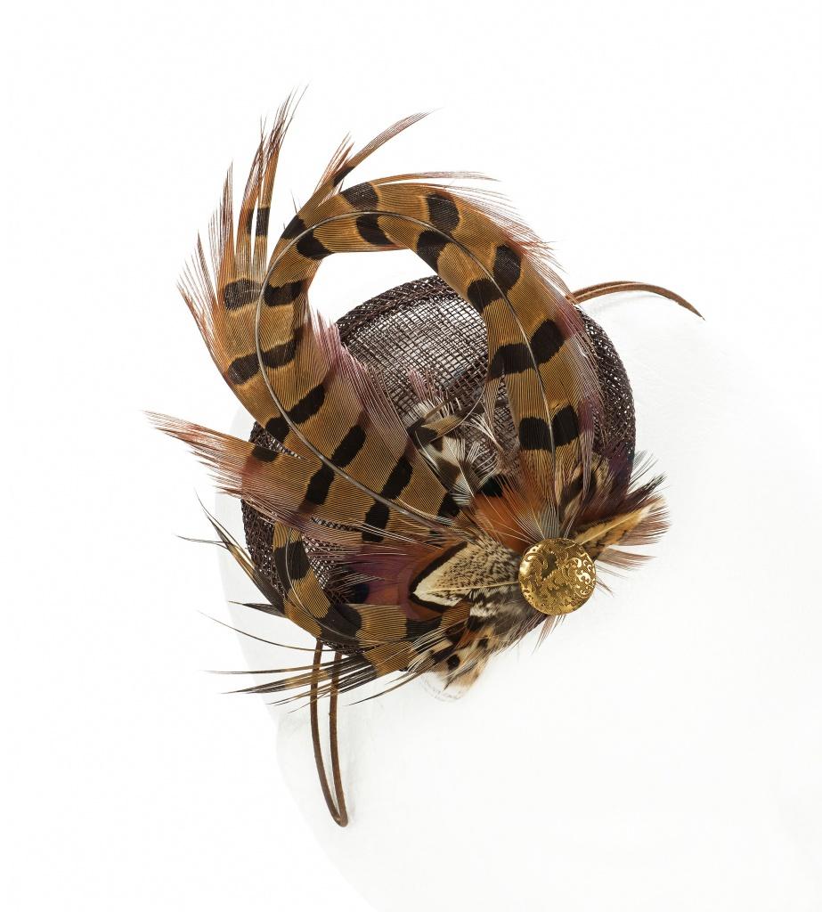 Pheasant Feather Fascinator Chocolate