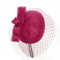 pink headpiece with veiling