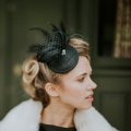 classic wedding fascinator black