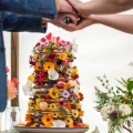 edible flowers wedding cake