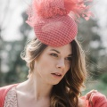 'coralie' statement coral cocktail hat Holly Young