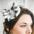 'Thea' silver navy cocktail hat Holly Young