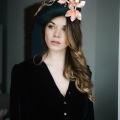 Bardot French navy beret with rose gold trim Holly Young