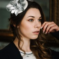silver and ivory cocktail hat wedding guest Holly Young
