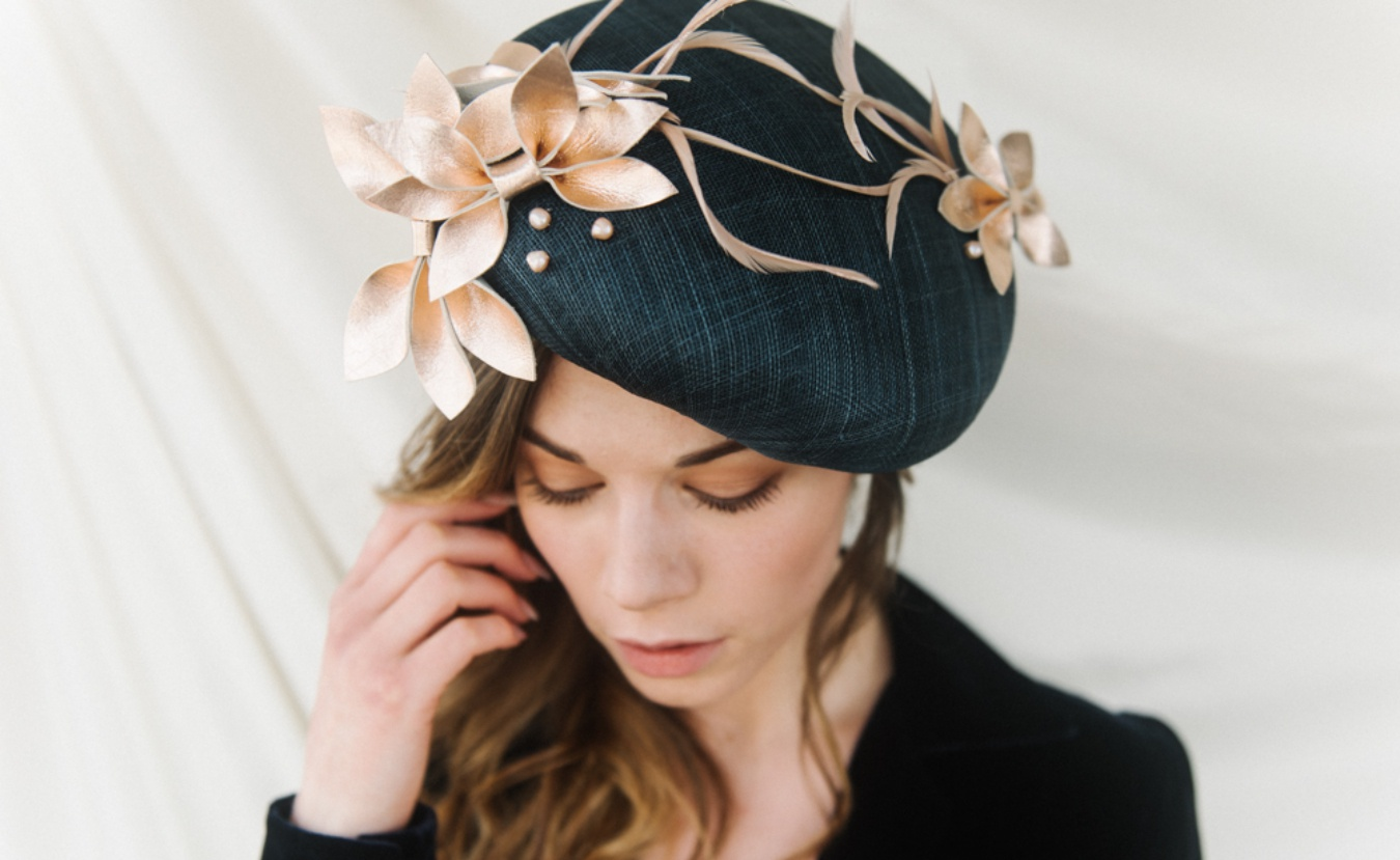 navy and rose gold beret Holly Young