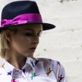 navy trilby with orchid pink ribbon