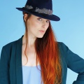 navy felt trilby with spotty guinea fowl band