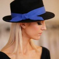 black trilby with cobalt ribbon