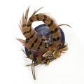 navy pheasant feather fascinator hat