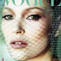 Kate moss on the cover of vogue magazine with veil