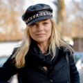 Kate moss in leather biker cap with chain