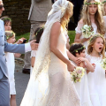 Kate moss at her wedding wearing a vintage inspired cap veil