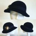 black felt cloche hat for a remembrance service