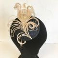 golden feather Art Deco pill box hat