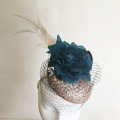 blush pink teal mother of the bride pill box hat Holly Young